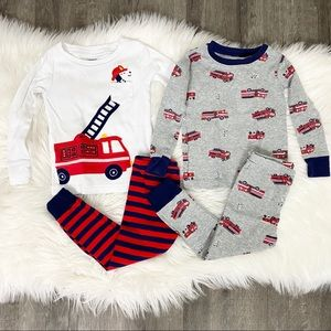 Carter's Fire Truck Dogs Pajama Set Bundle